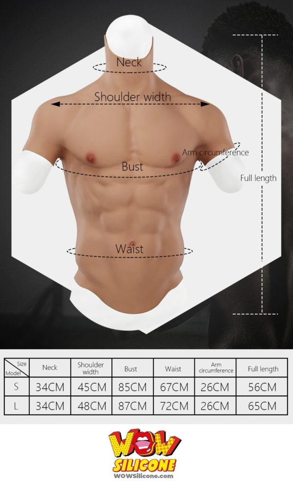 Fake Muscle Chest Plate With Short Sleeves - Dimension