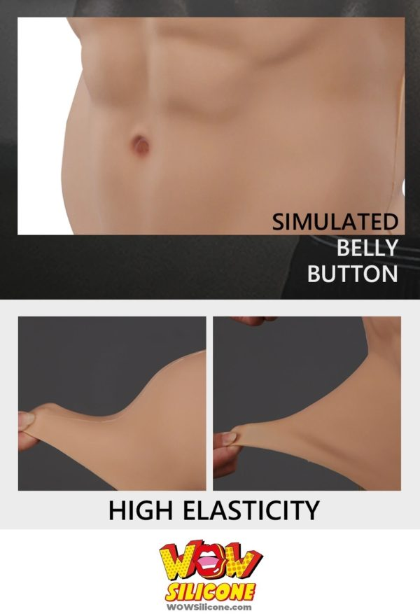 Fake Muscle Chest Plate With Short Sleeves - Simulated Belly Button