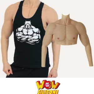 Male Muscle Silicone Chest Plate With Arms
