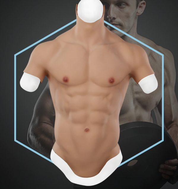 Realistic Silicone Muscle Chest Plate With Short Sleeves