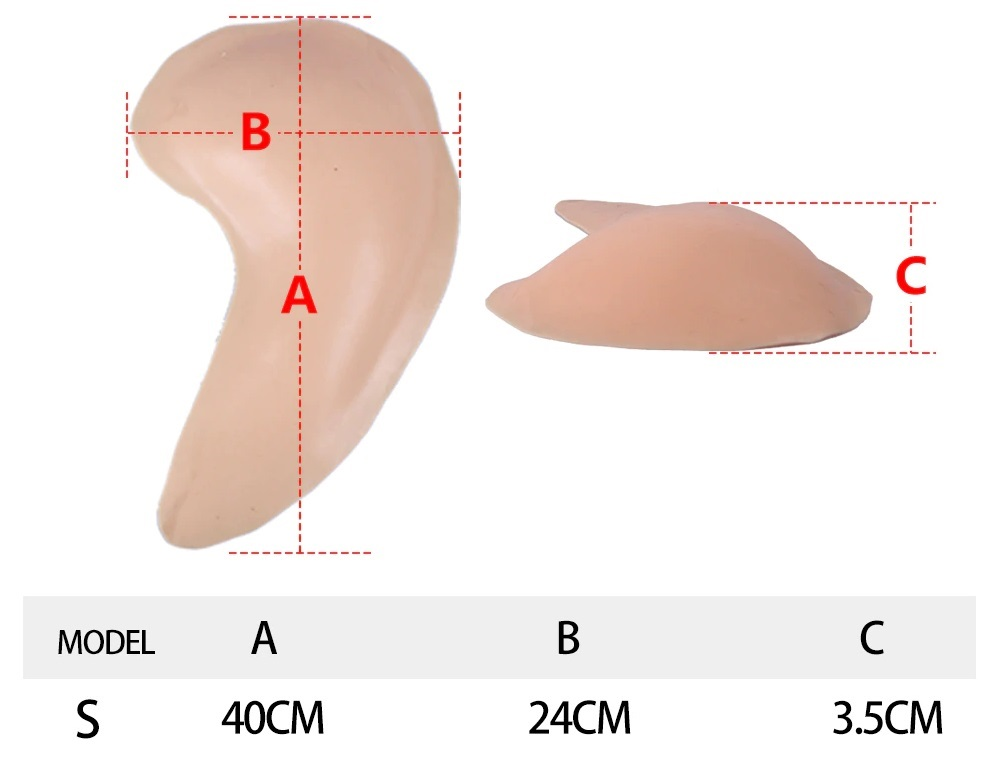 Small Silicone Hip Pads Dimension